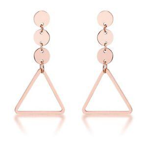 14K-Rose-Gold-GB-Trendy-Triangle-Circle-Dangle-Drop-Earrings-G101