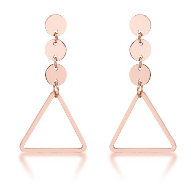 14K Rose Gold GB Trendy Triangle Circle Dangle Drop Earrings G101