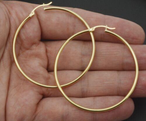 50 mm x 2 mm 3.2 G 14k solide or jaune Big Large haute poli Boucles d/'oreilles créoles