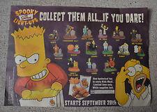 ORIGINAL Simpson Spooky Light-Up Halloween Figure Burger King PLACEMAT Sign 2001