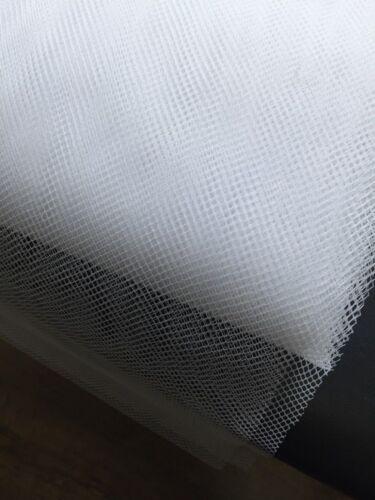 Suave tejido de malla de red en forma de diamante 100/% nylon 1 M x 114 Cm de Ancho-Blanco
