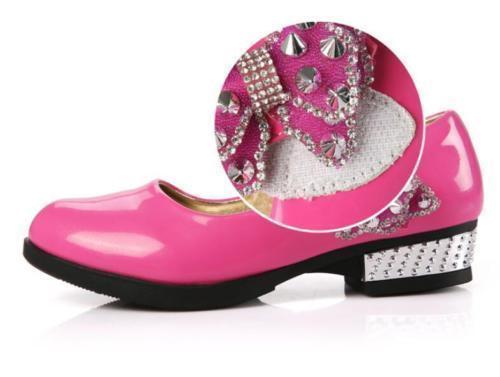 Fashion Girls Kids Mary Jane Rivet Bowknot High Heels Flower Girls Dress Shoes#W