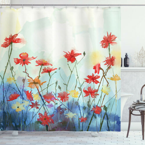 Cloth Shower Curtain Waterproof Bath Decor in 3 Sizes with Hooks Ambesonne
