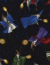 MEDIEVAL MIDNIGHT WIZARDS STARS NIGHT SKY FABRIC