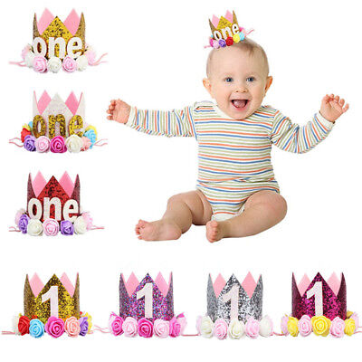89e914f65 Baby Girl First Birthday Party Hat Flower Princess Crown Decor Hairwear  Lovely | eBay
