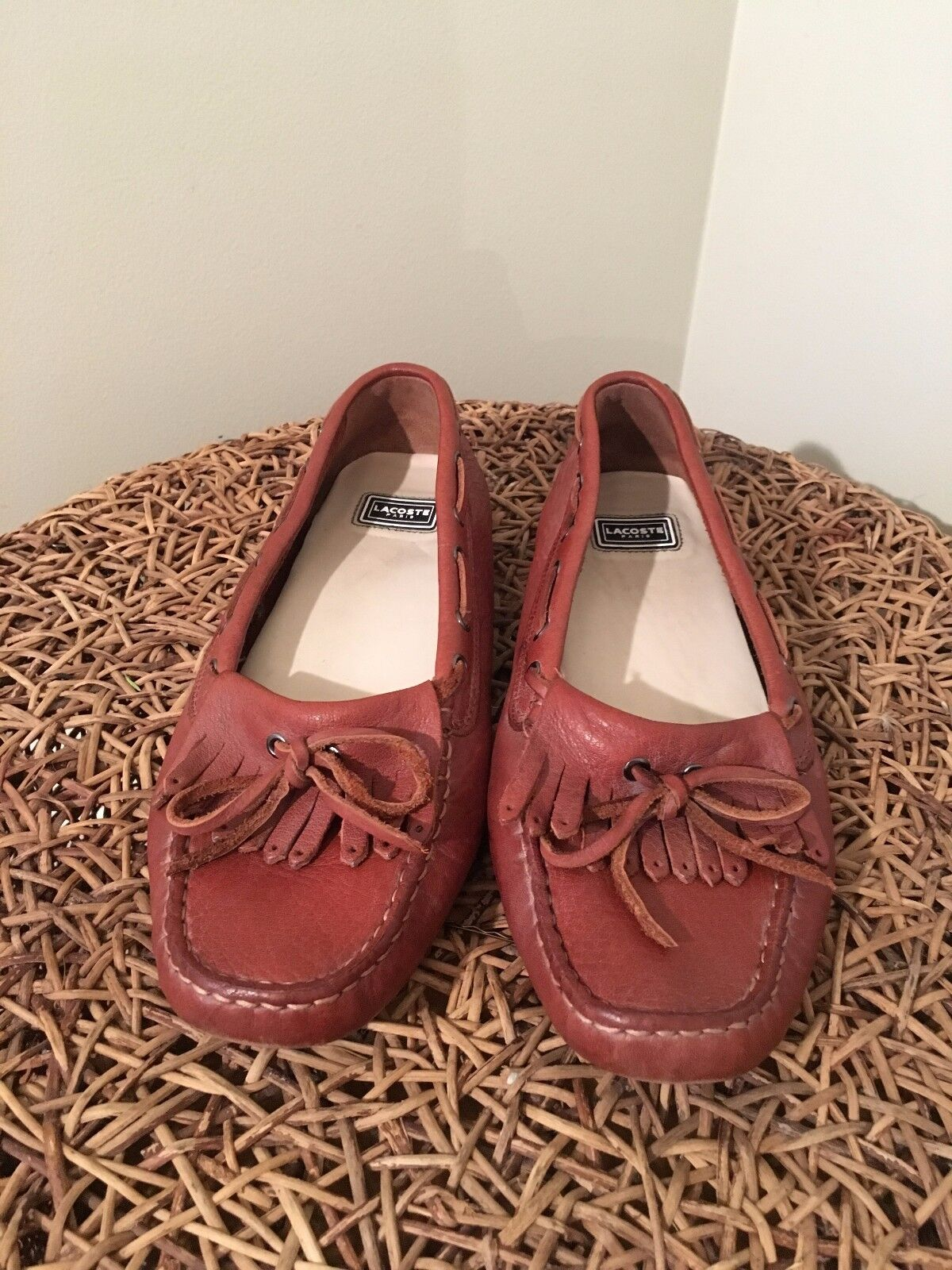 Lacoste Brown Leather Driving Moc Size 10