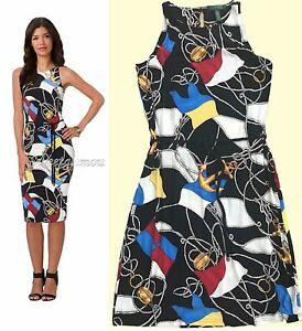 Details about $169 Lauren Ralph Lauren Nautical Flag & Rope Print Jersey  Sheath Dress M