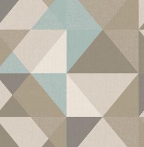 Tapete-Designtapete-VLIES-Gobelin-Retro-Dreiecke-Schlamm-Cyan-Stein