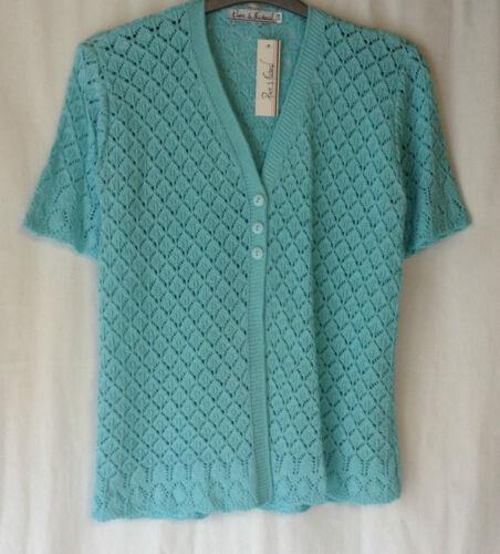 NUOVO Donna TG 12-18 misto cotone stile uncinetto lavorato a maglia Cardigan manica corta