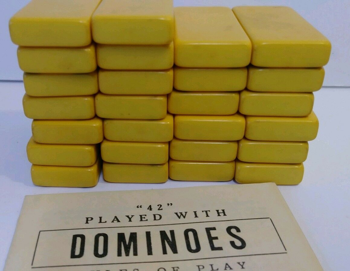 Vintage Bakelite Butterscotch Dominos Set with Case missing 2 - w/ instructions