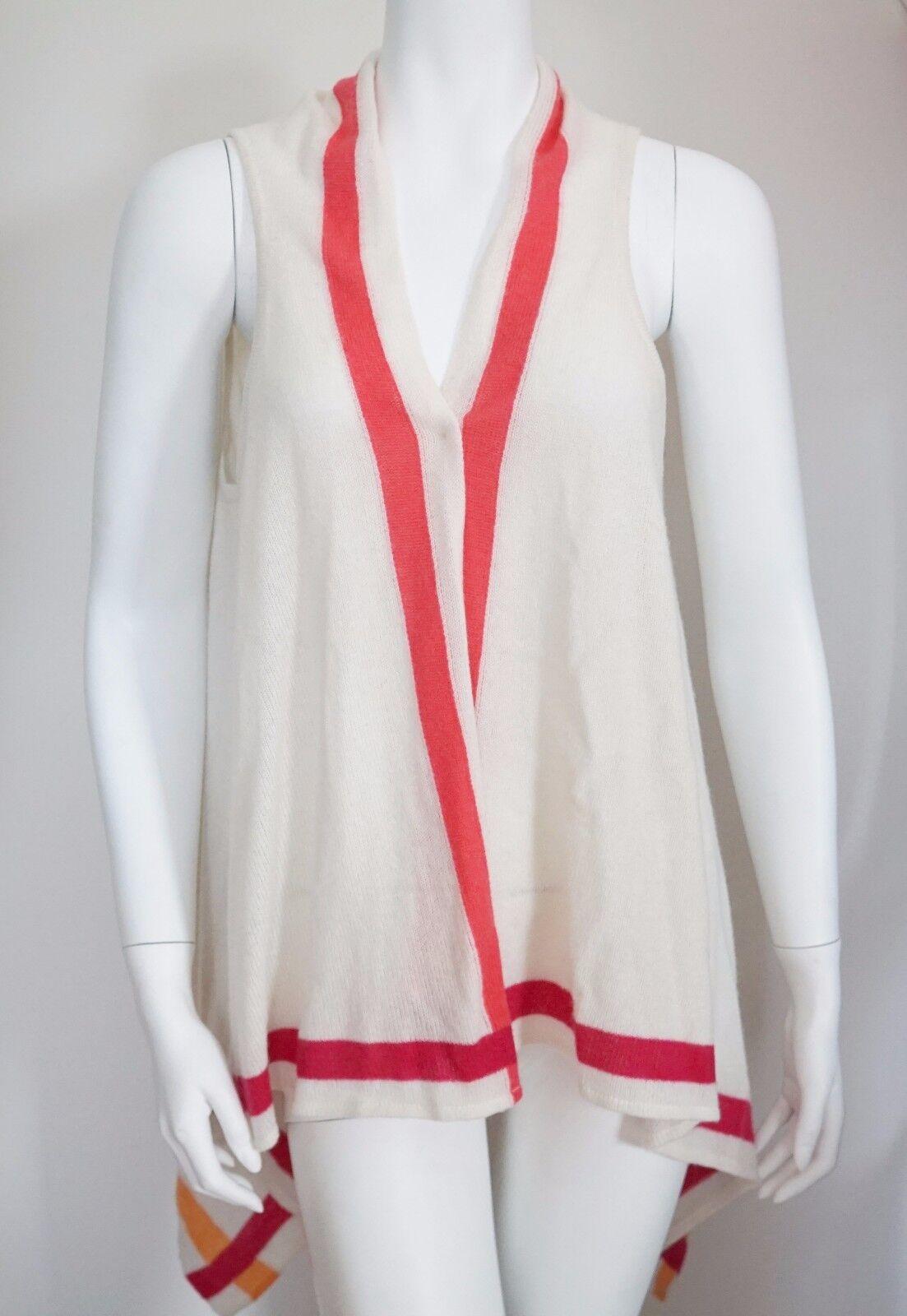 NWT Authentic IN CASHMERE Cream 100% CASHMERE Open Front Cardigan Vest L XL