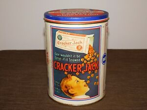 VINTAGE-1990-8-034-HIGH-CRACKER-JACK-BASEBALL-CONFECTION-CANDY-TIN-CAN-EMPTY