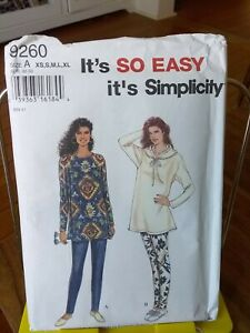 Oop-Simplicity-Easy-9260-misses-stretch-knit-pants-tunic-hooded-ss-6-24-NEW