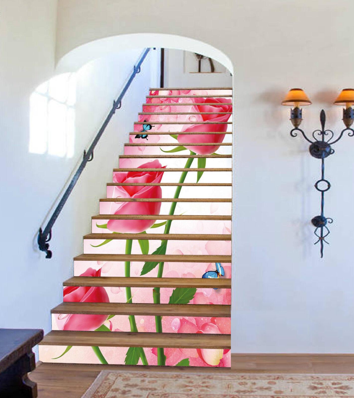 3D pink pinkn 218 Stair Risers Dekoration Fototapete Vinyl Aufkleber Tapete DE