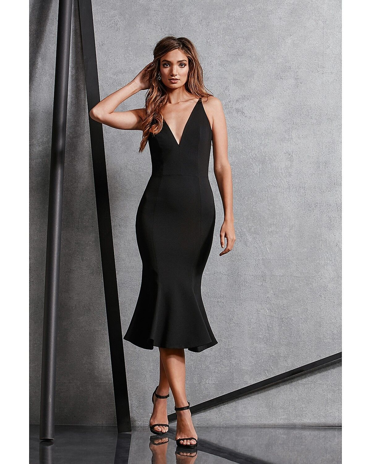 DRESS the the the POPULATION Navy Isabelle Crepe Stretch Bodycon Mermaid Midi LARGE 12 6b8260