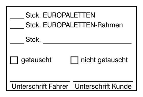 """Stempel """"Europaletten getauscht"""" Handstempel Holzstempel Paletten Lager Magazin"""