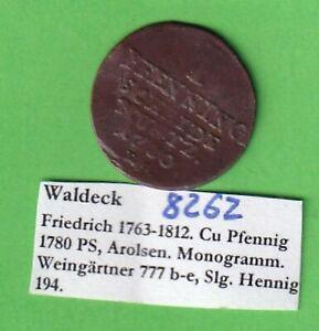 Waldeck 1 Pfennig 1780 Arolsen gekröntes Monogramm stampsdealer