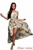 Off Shoulder Front Slit Multi-color Floral Women Sexy Evening Romper Maxi Dress