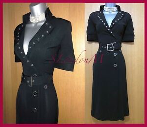 KAREN-MILLEN-10-Stunning-Black-Shirt-Trench-Military-Style-Occasion-Midi-Dress