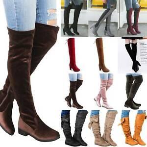 Womens-Ladies-Thigh-High-Over-The-Knee-Boot-Mid-Heel-Winter-Heels-Booties-Shoes