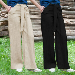 Mode-Femme-Pantalon-Confortable-Casual-lache-Bande-elastique-Jambe-Large-Plus
