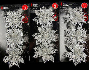 Set-Of-9-Glitter-Poinsettia-Clip-On-Christmas-Craft-Tree-Decorations-SILVER
