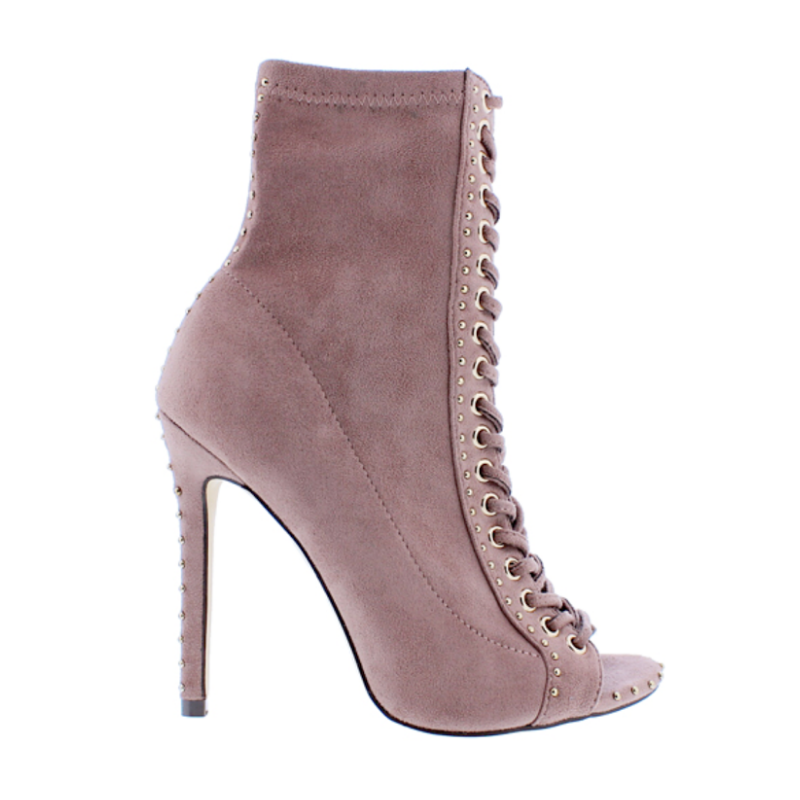 Liliana ROMA-24 Mauve Faux Suede Peep Toe Lace Up Ankle Boot Micro Stud Detail