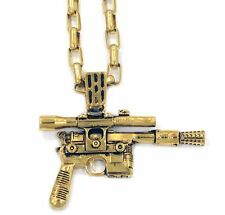 "Star Wars Force Awakens Han Cholo HCSW02 HC Blaster Gold Pendant 30"" Necklace,"