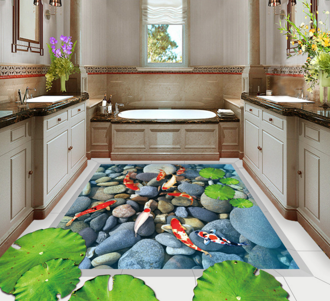 3D Stone Fish Pond 5 Floor WallPaper Murals Wall Print Decal AJ WALLPAPER Summer