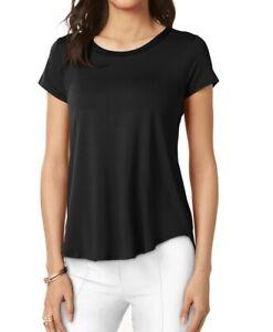 Alfani Deep Black Women's Size XS Scoop-Neck High Low Tee T-Shirt $34 489