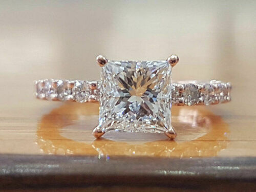 1.5 Ctw Princess Cut Diamond Solitaire Engagement Ring in White Gold Finish 4
