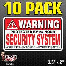 10 Pack WARNING Security System Stickers Home Alarm Decal Vinyl Window #FS031