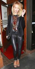 $1050 J BRAND L8007 SKINNY EDITA PULL UP LEATHER LEGGING, SZ XS NOIR BLACK