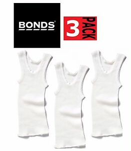 3 x BONDS BABY SINGLETS Ribbed Vests Ribbie Underwear Boys Girls White SALE