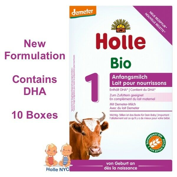 Holle Stage 1 Organic Infant Formula with DHA 10 Boxes 400g Free Shipping