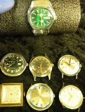 Vintage Lot Of 7 Men's Watches For Parts Repair Hallmark Auto Timex Jean Cardot