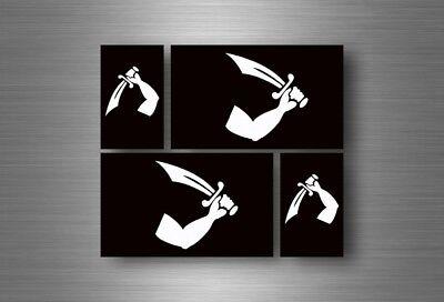 Set of 4 Thomas Tew Pirate Logo Vinyl Sticker Decal Aufkleber Bumper