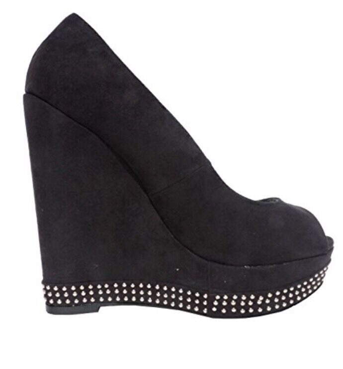 STEVE MADDEN NEW PATRYCIA STUDDED WEDGES PLATFORMS PLATFORMS PLATFORMS SHOES BLACK SIZE 8 fcfd3a