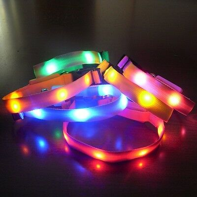 Red.Blue Safety Pets LED Light Flash Night Waterproof Nylon Collar Small BC55