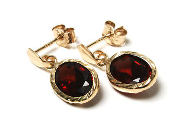 9ct Gold Garnet oval Drop Earrings Gift Boxed Made in UK