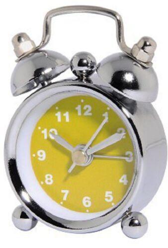 "Mini-Analog Alarm Clock /""Nostalgia/"" Pink White Black Blue Yellow Hama Travel Alarm Clock"