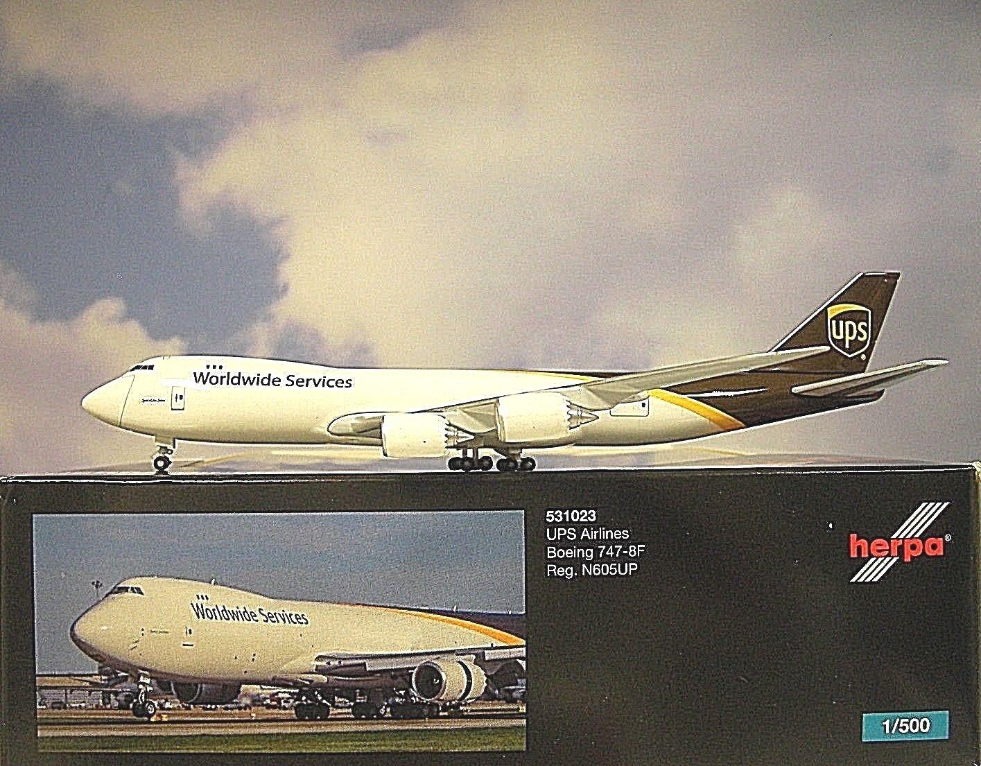 Herpa Wings 1 500  Boeing 747-8F  UPS Airlines N605UP  531023  Modellairport500  | Helle Farben