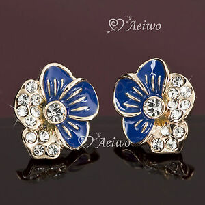 EARRINGS-STUD-18K-ROSE-GOLD-GF-FLOWER-CLEAR-MADE-WITH-SWAROVSKI-CRYSTAL