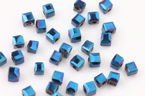 2mm Glass Crystal Square Cube Beads Faceted Loose Spacer For DIY Jewelry Finding