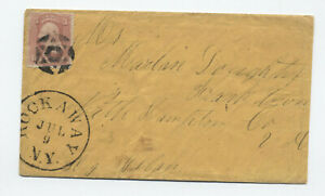 1860s-Rockaway-NY-65-cover-fancy-6-point-star-cancel-balloon-CDS-y5981
