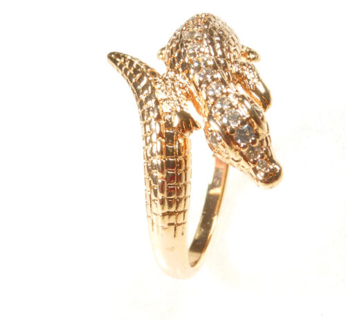 Alligator Ring Size P S T Simulated Diamond 18K Gold Plated Mens Luxury UK