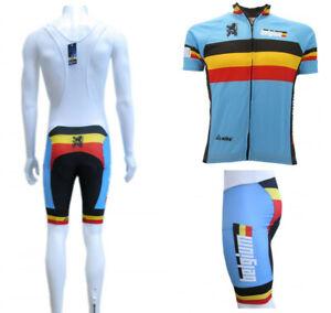 4fa5c7cc9 Caricamento dell'immagine in corso Calzoni-Maglia-Ciclismo-Belgio-Divisa- Azzurra-Salopette-abbigliamento-