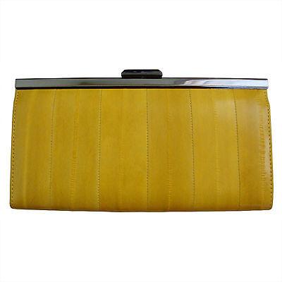 Genuine Eel Skin Leather Standard Wallet Frame Purse Clutch Wallet