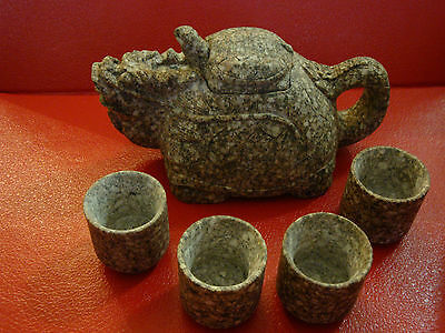 Dragon shaped Maifan Stone Teapot and cups