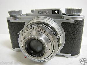 Vintage 1953 Wirgin Edinex II Flat Front 35mm Film Camera + Leather Case